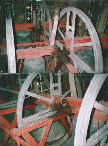 Elstow Bells in their 1908 low side girder frame (taken 1980)